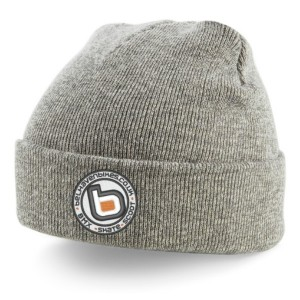 bb bmx skate scoot grey turn up beanie white logo